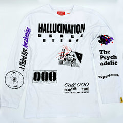 Hallucination Generation All Over Print - Eye White Long Sleeve Shirt