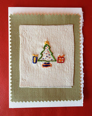 embroidered x-mas tree|arbre de Noël brodé