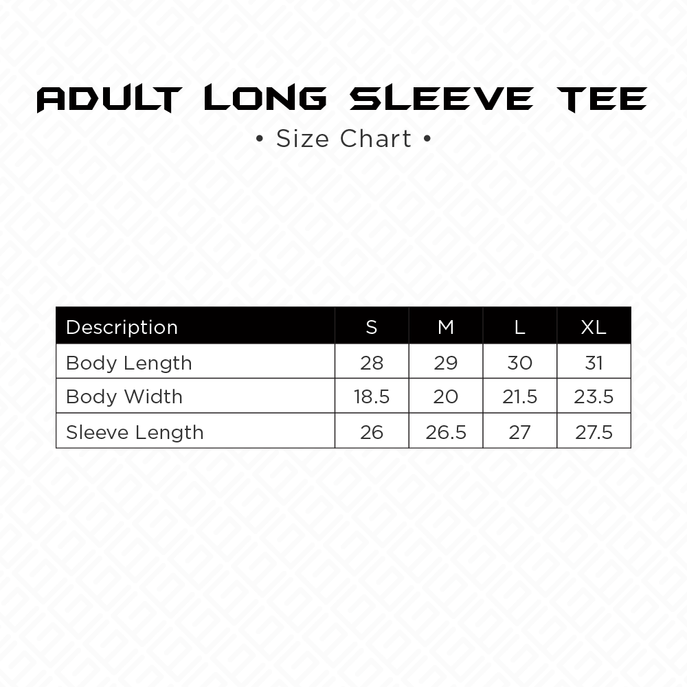 Adult Long Sleeve Tee Size Chart
