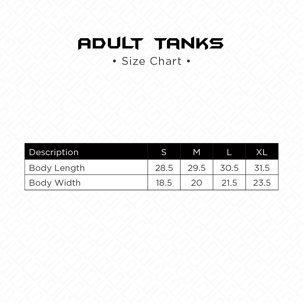 Adult Tanks Size Chart