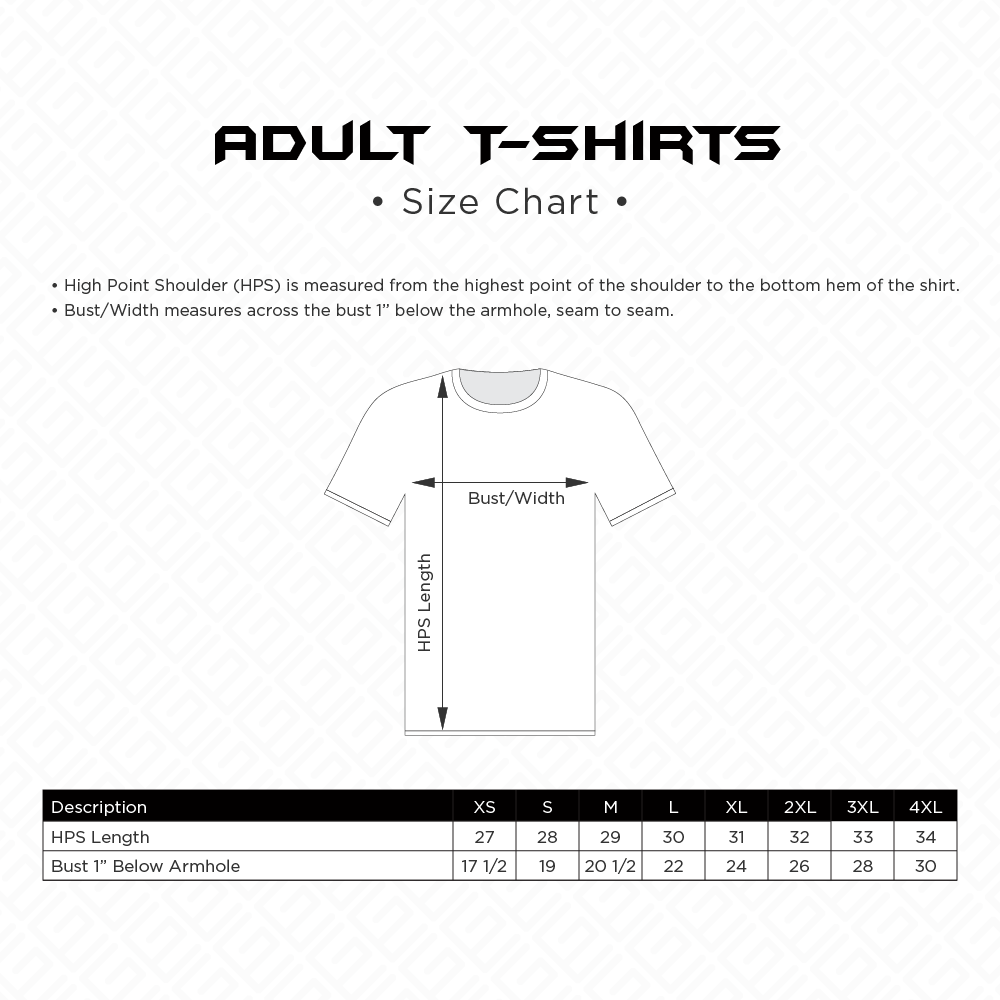 Adult T-Shirts Sizing