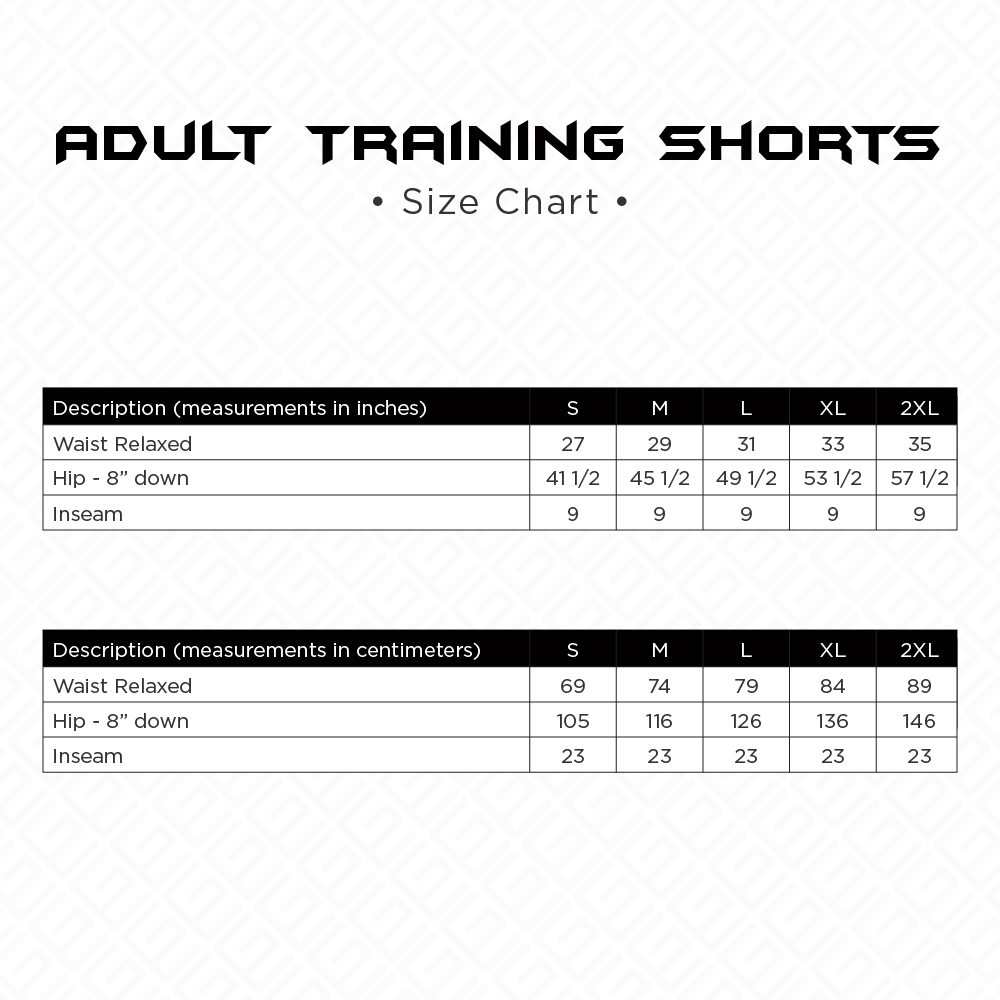 Adult Training Shorts Size Chart