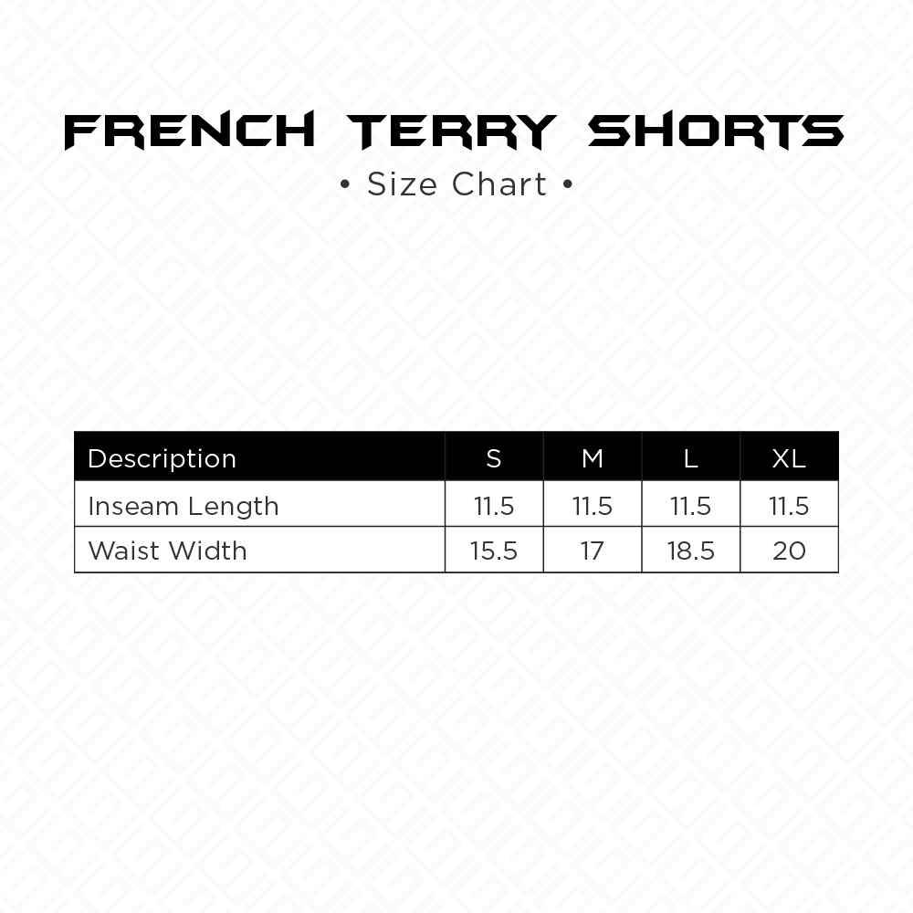 French Terry Shorts Sizing