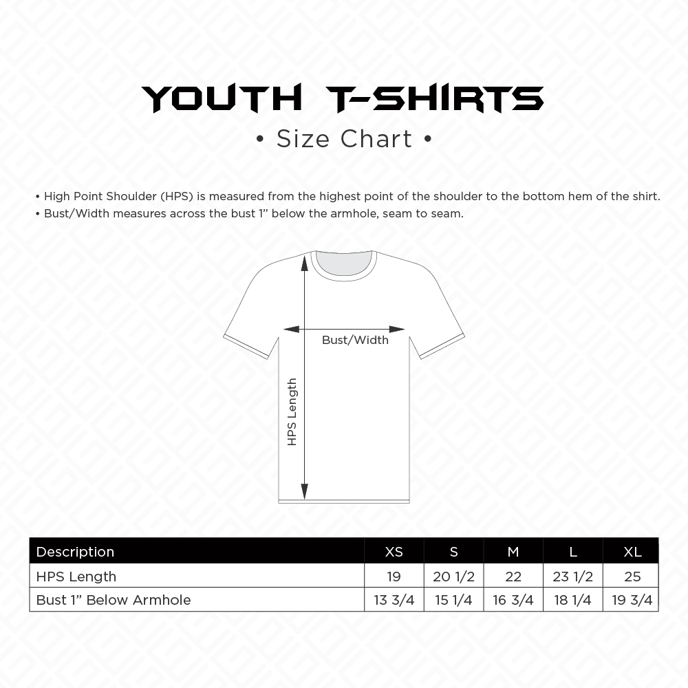 Youth T-Shirts Sizing