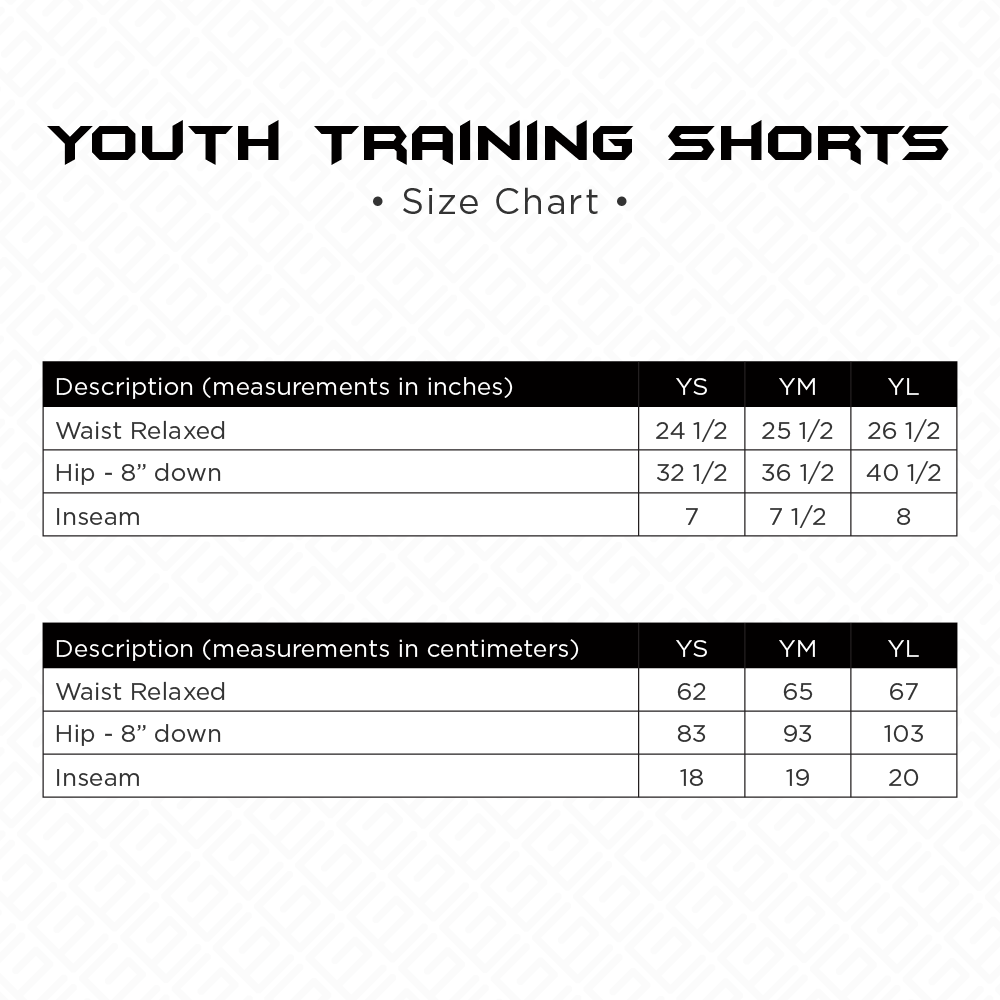Youth Training Shorts Size Chart
