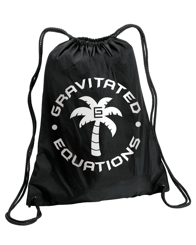 Grav Palm Tree Drawstring Bag Black
