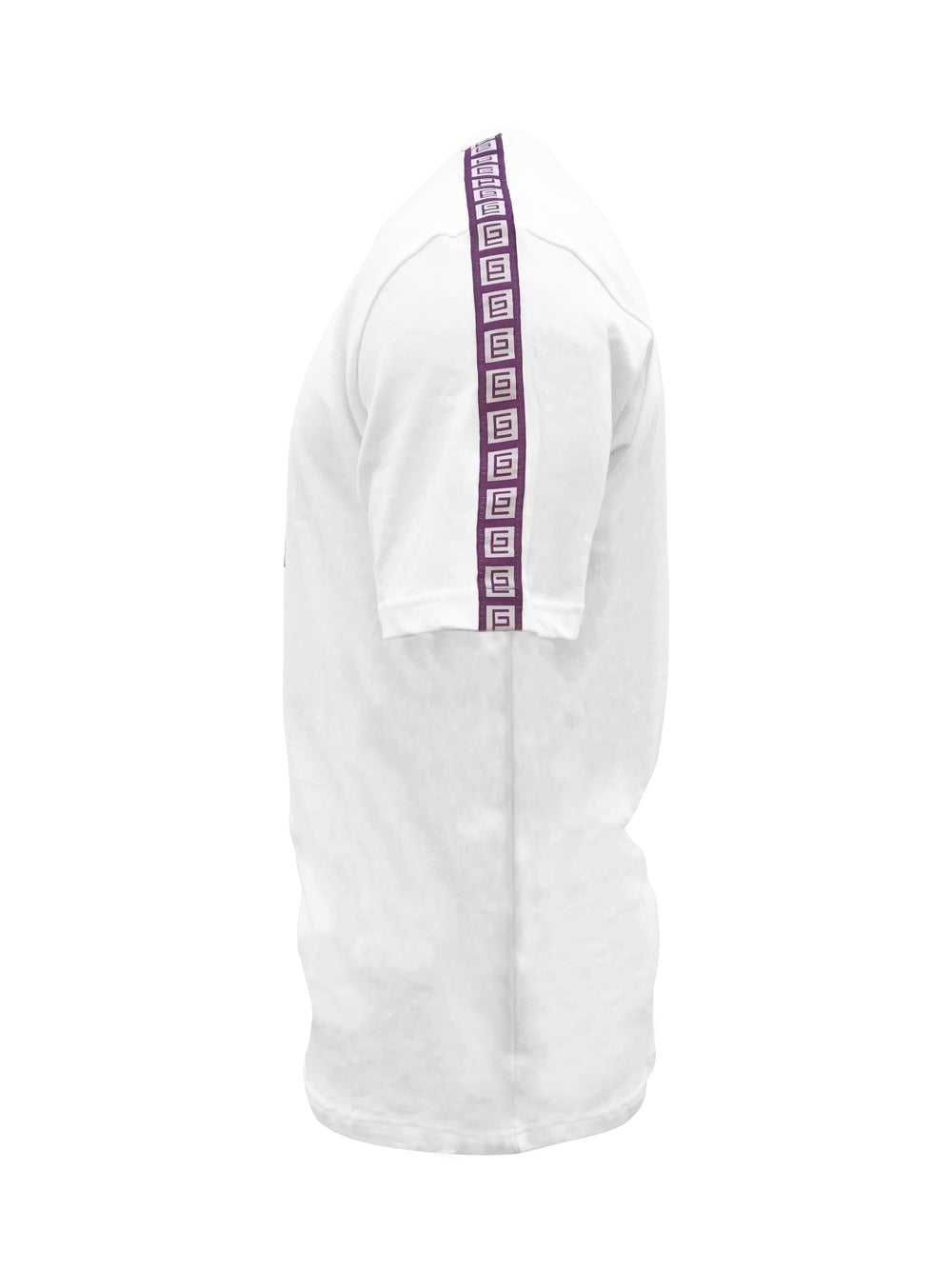 Grav Tee with Ribbon Down Sleeve (White/Purple) - Gravitated Equations