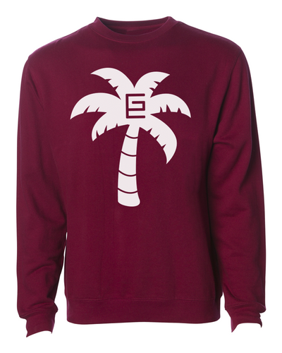 Palm Tree Crewneck (Maroon/White)