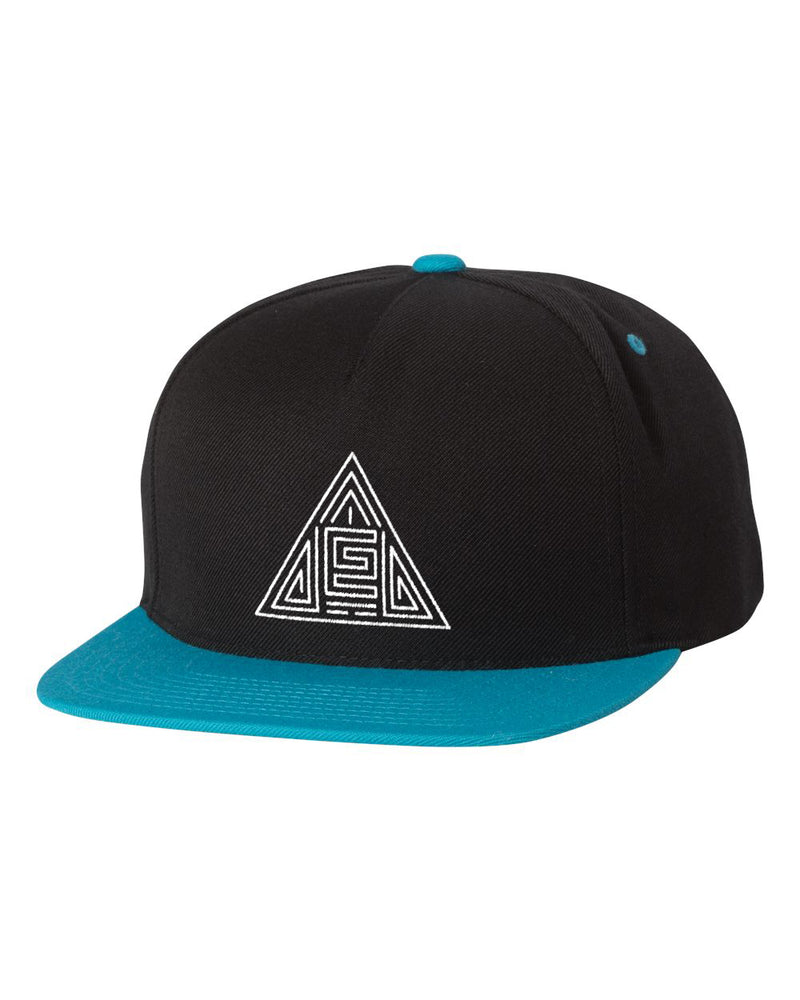 Triangle Maze Snapback (Black/Teal)
