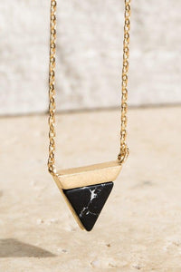 Gold Necklace w/ Triangle Marble Pendent {Black/White/Turquoise}