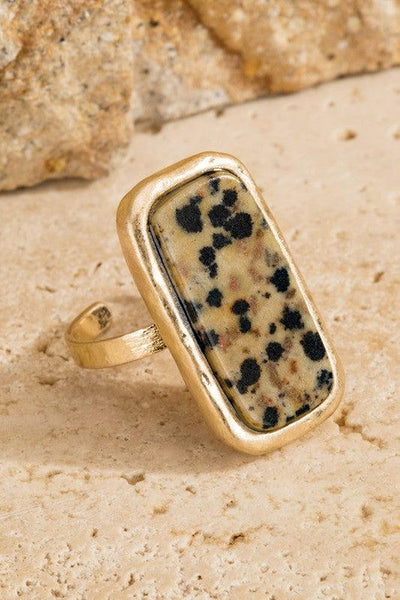 Rectangle Hammered Gold Ring- {Rose} & {Dalmatian}