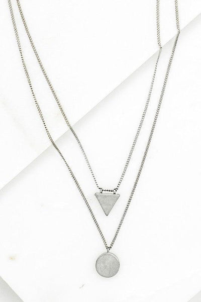 Triangle & Circle Double Necklace {Silver} {Gold}