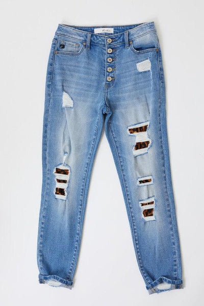 The Amara's- Distressed Skinny Jeans w/ Leopard Patch