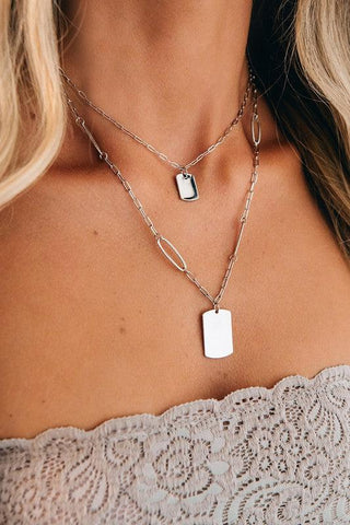 Silver Chain Double Layer Necklace