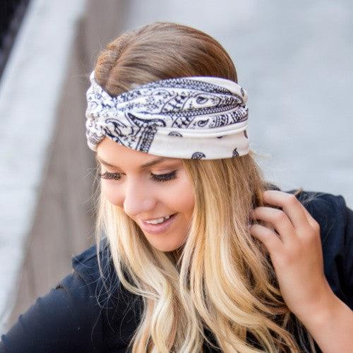 Bandana Twist Headband {Black, White & Olive}