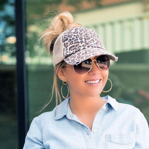 Leopard Distressed Ball Cap w/ Ponytail Slit