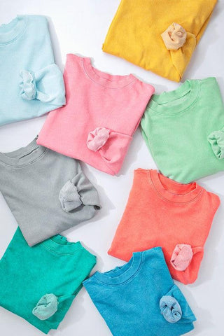 Sooner Or Later- {Silver Gray, Coral, Pink, Mint, & Green} Raw Hem Cropped Long Sleeve Top