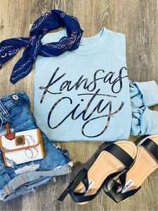 Kansas City- Sky Blue Lightweight Sweatshirt w/ Foil Lettering