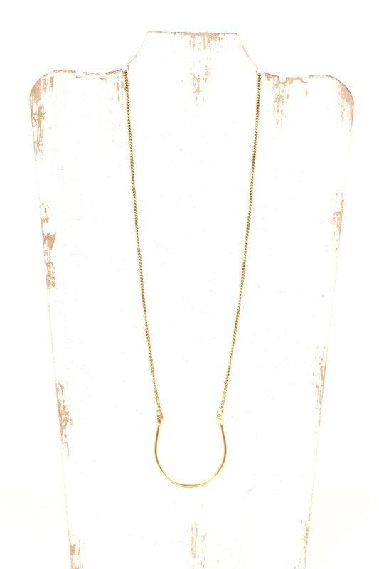 Long Bent Bar Necklace {Silver} & {Gold}