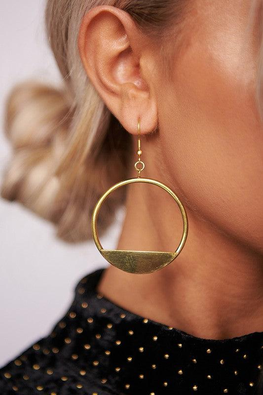 Gold Hoop Drop Earring