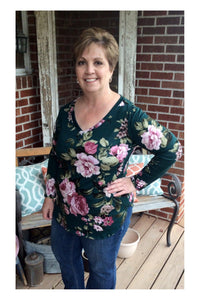 Teal Floral Tunic