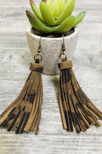 Turn Heads- Leather Leopard Tassel Earrings