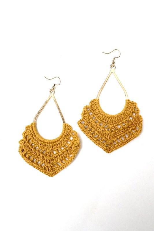 Mustard Crochet Dangle Earrings