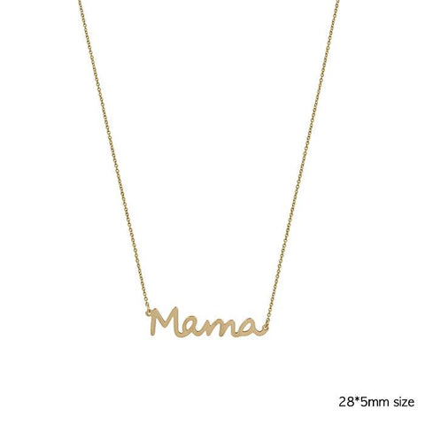 Mama Gold Cursive Necklace w/ Ball Stud Earrings