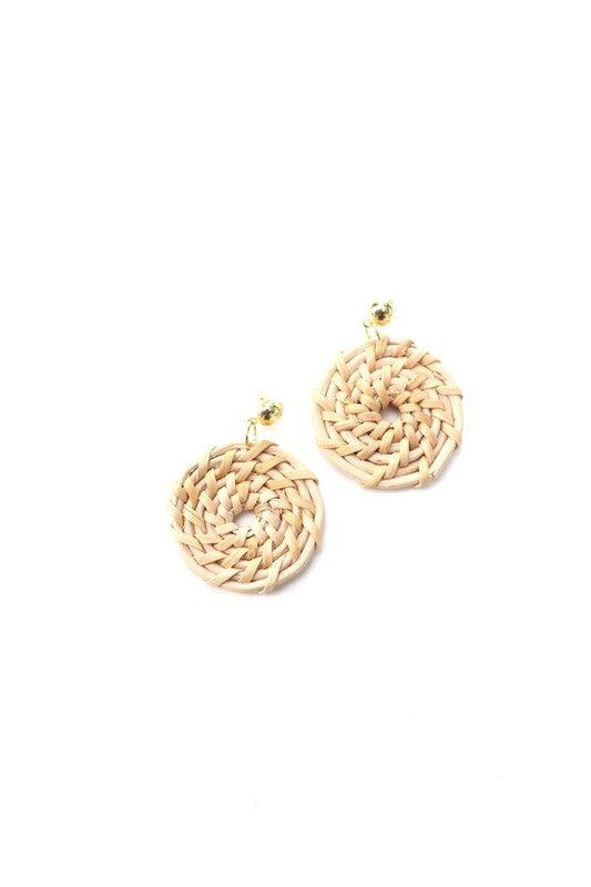 Wicker Circle Pattern & Gold Earrings