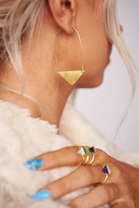Antique Gold Triangle Hook Through Earring