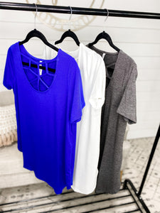 Try Again- {Blue}{White}{Gray} Caged Neck Top