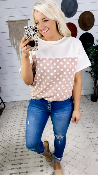 Loving On You- Oatmeal & Polka Dot w/ Front Knot