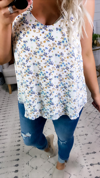 Stay Humble- White & Floral Flowy Tank