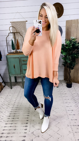 I Met You Before- Coral Boxy Waffle Knit Top