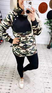 I Need You- Camo Pullover w/ Side Button Up