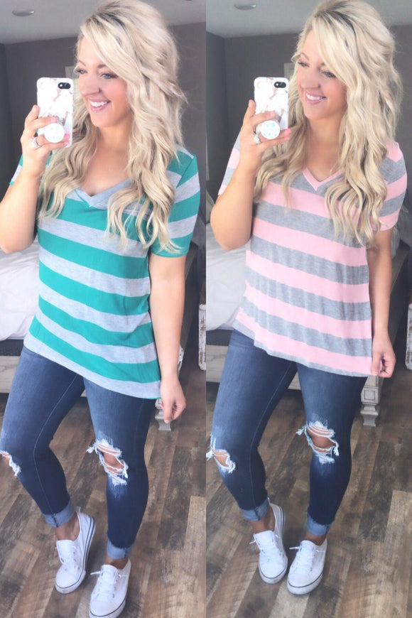 Changing Things Up- Striped V-Neck