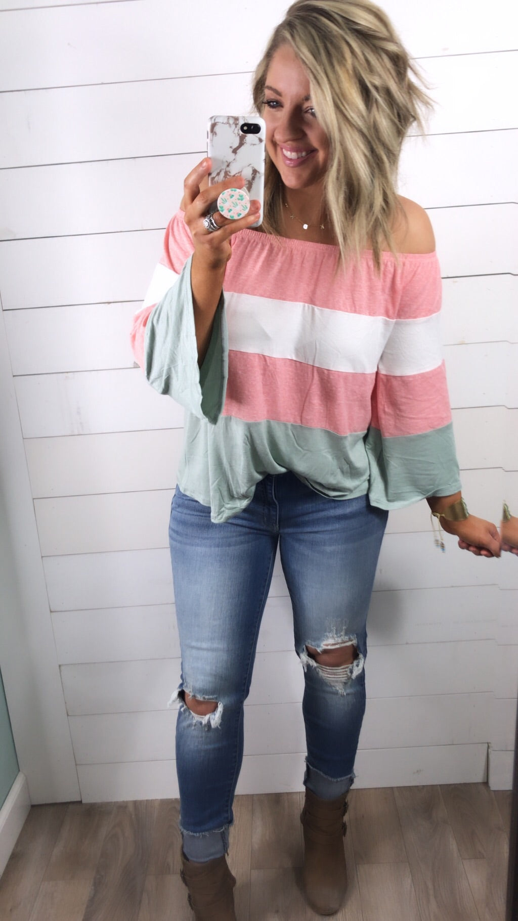 Picture This-Off the Shoulder Peach Color Block