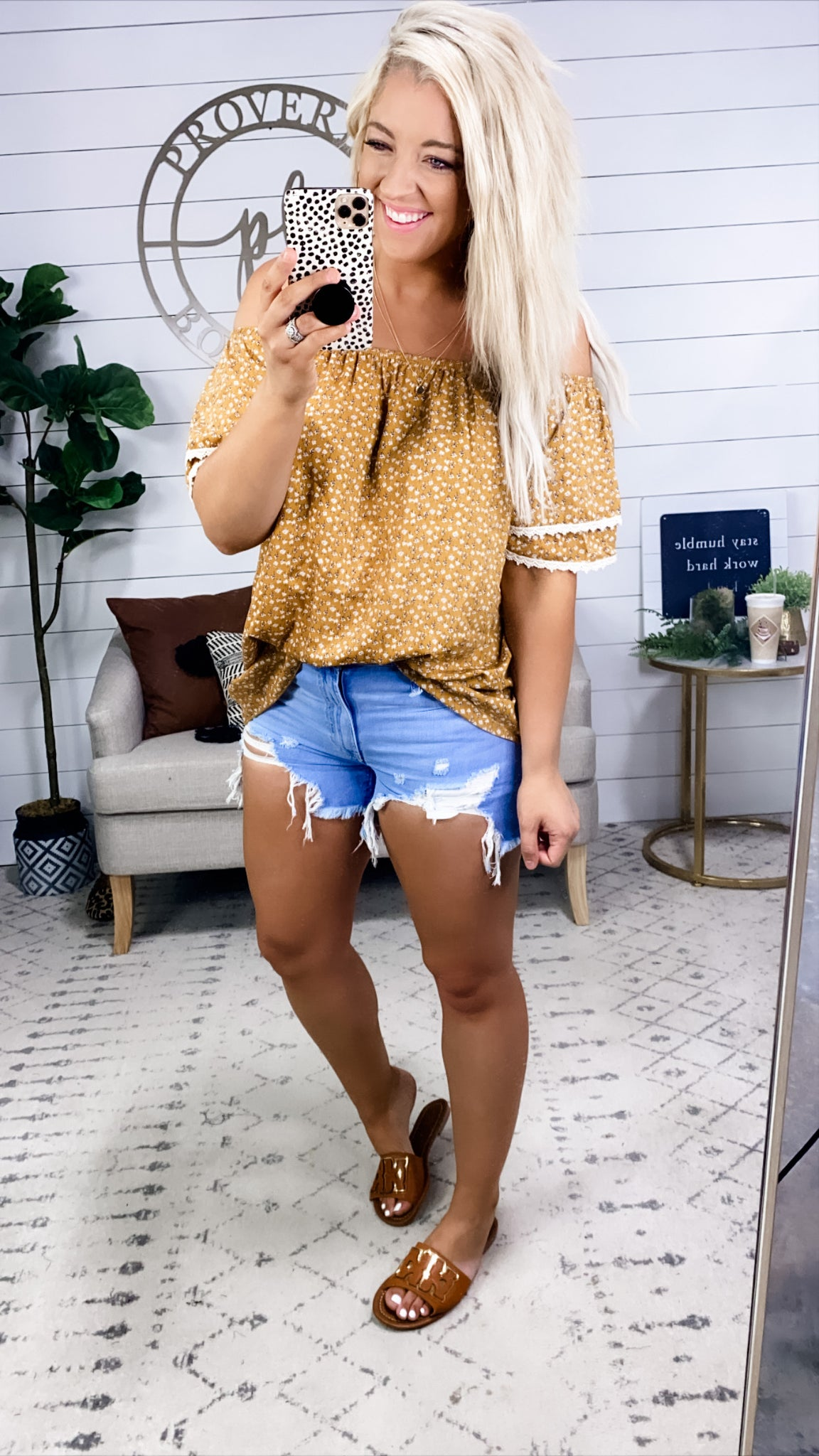 What I'd Give- Mustard/Lace/Floral Off Shoulder
