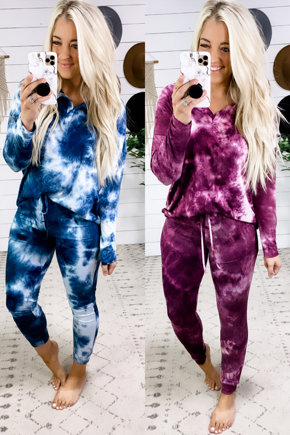 Hear Your Voice- Top OR Pants {Purple & Blue} Tie Dye Lounge Wear