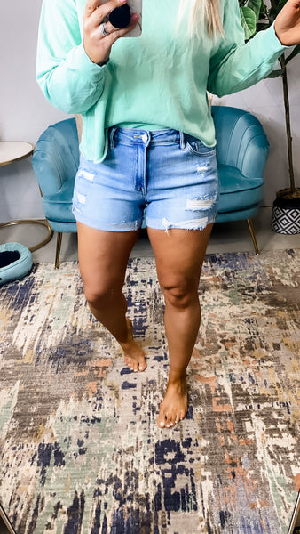 The Holly's- Mid-Rise Light Wash Distressed SHORTS w/ Cuff