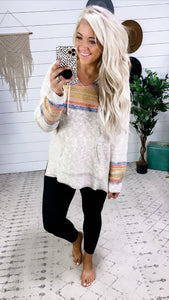 When You Go- Taupe Sweater w/ Hood & Colorful Stripe