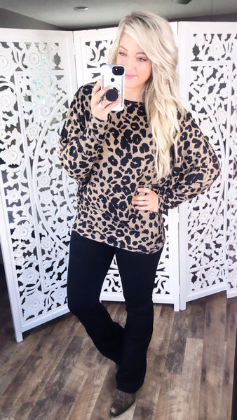 Something About You- Leopard Dolman Top