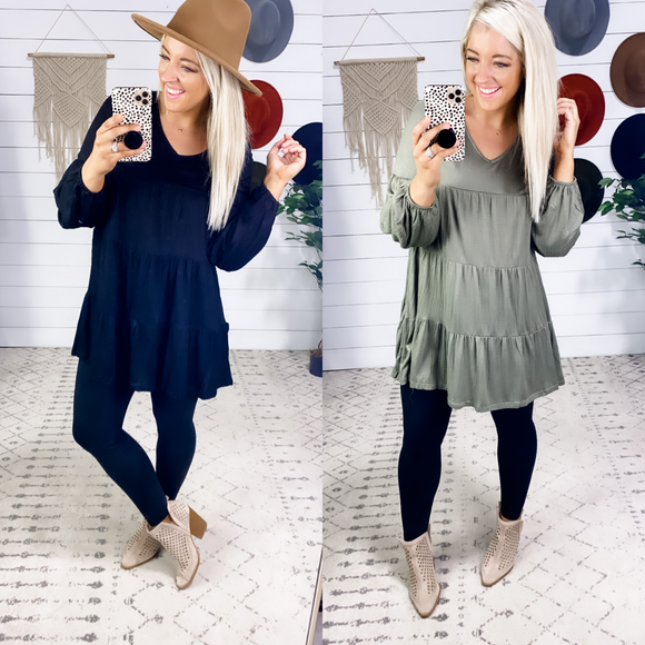 Own The Night - V-Neck Long Sleeve {Black & Olive}