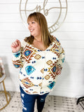 Back Then- Cream V-Neck w/ Aztec Print
