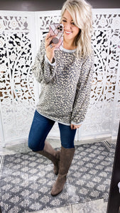 Hard On Me - Leopard Cashmere Brushed Top