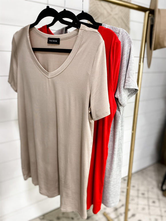I'm A Softy- {Gray/Taupe/Red} V-Neck