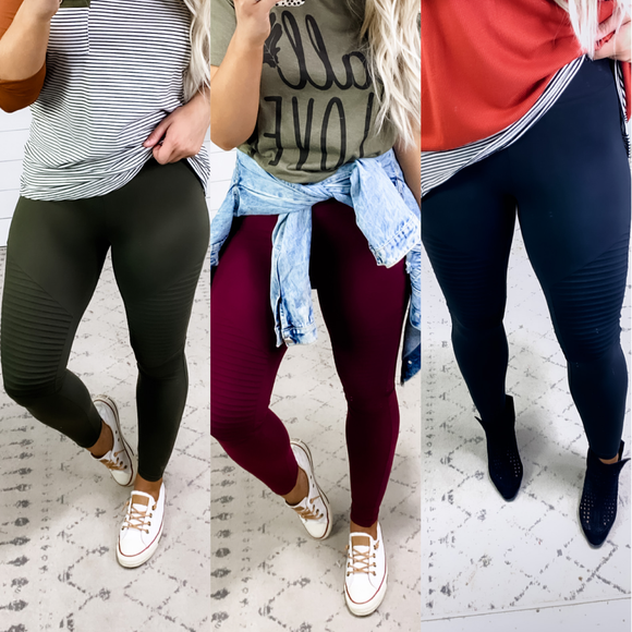 Maybe I Can- {Black, Burgundy, Olive} Moto Leggings