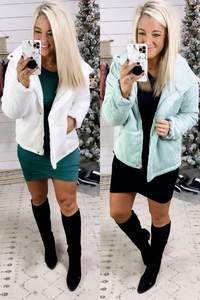 Crisp & Cool- {White & Mint} Ribbed Coat