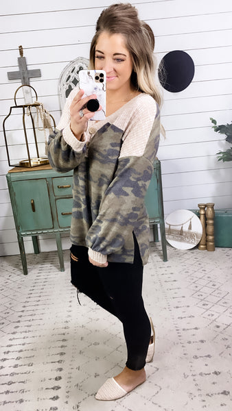 Stay Safe- Camo w/ Beige Waffle Knit & Button Detail