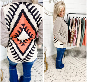 Can't You See- Ash Shirt Jacket w/ Aztec Back